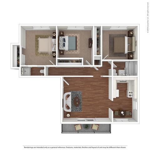 3D brown layout at Parkside Apartments, Davis, CA, 95616