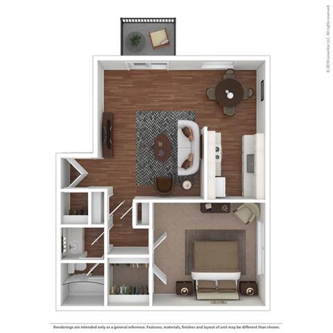 1 Bedroom 1 Bathroom Floor Plan at Fairmont Apartments, California, 94044