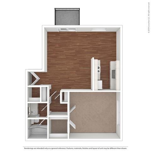 1 bedroom layout at Fairmont Apartments, California