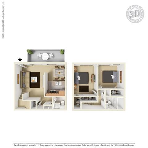 3d floor plan at Fairmont Apartments, California