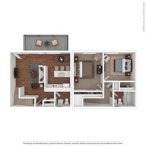 2 bed layout at Fairmont Apartments, Pacifica, California