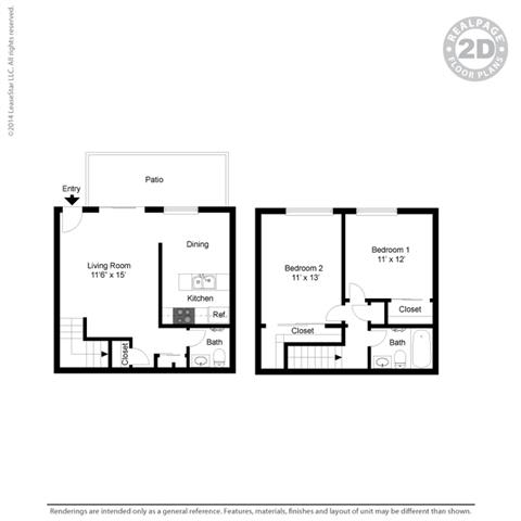 Floor Plan  2 bed layout at Fairmont Apartments, Pacifica, CA