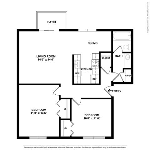2d 2 bed layout at Fairmont Apartments, Pacifica