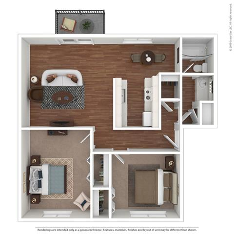 3d 2 bed layout at Fairmont Apartments, Pacifica, California