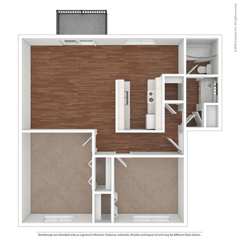 Floor Plan  3d 2 bedroom layout at Fairmont Apartments, Pacifica, 94044