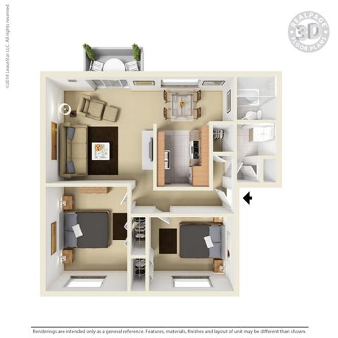 3d 2 bed Floor Plan at Fairmont Apartments, California