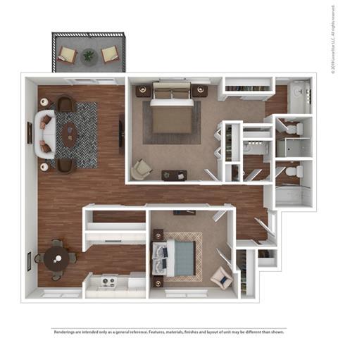 2 bed floor plan at Fairmont Apartments, Pacifica, CA, 94044