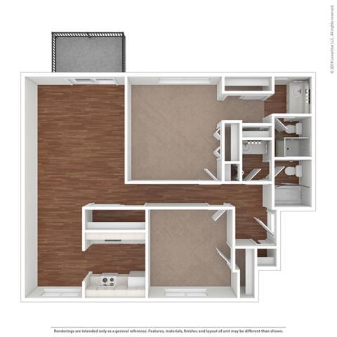 2 bed layout at Fairmont Apartments, California, 94044