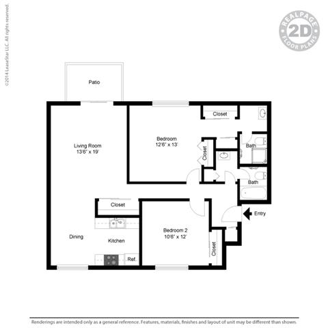 Floor Plan  layout of 2 bed apartment at Fairmont Apartments, Pacifica, California