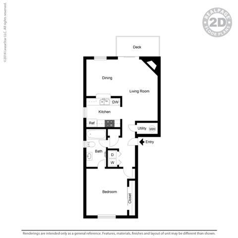 1 bedroom layout at Cypress Landing, Salinas