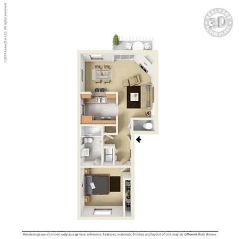 1 bedroom floor plan at Cypress Landing, Salinas, California