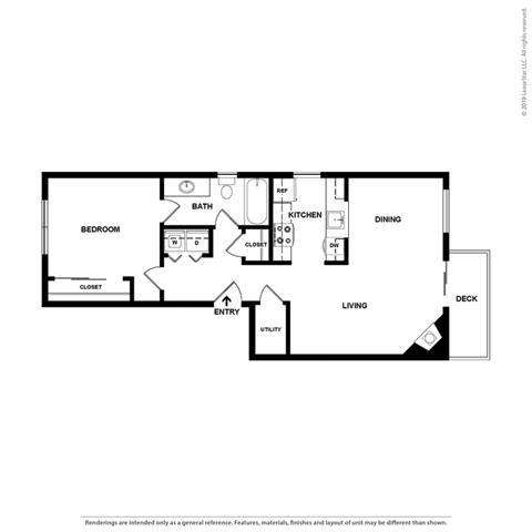 Floor Plan  2d 1 bedroom floor plan at Cypress Landing, Salinas, 93907