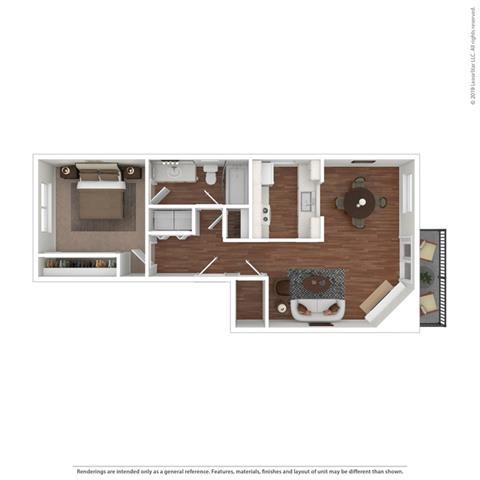 3d 1 bedroom floor plan at Cypress Landing, Salinas, CA