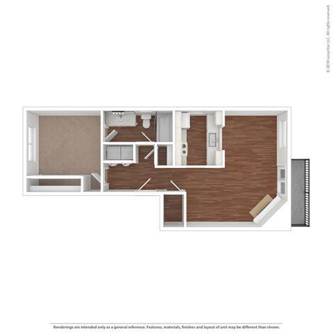 3d horizontal floor plan at Cypress Landing, California