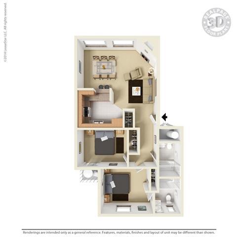 2 Bedroom 2 Bathroom Floor Plan at Cypress Landing, Salinas, CA