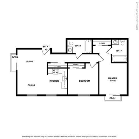 2 bedroom 2 bath Floor Plan at Cypress Landing, Salinas, CA, 93907