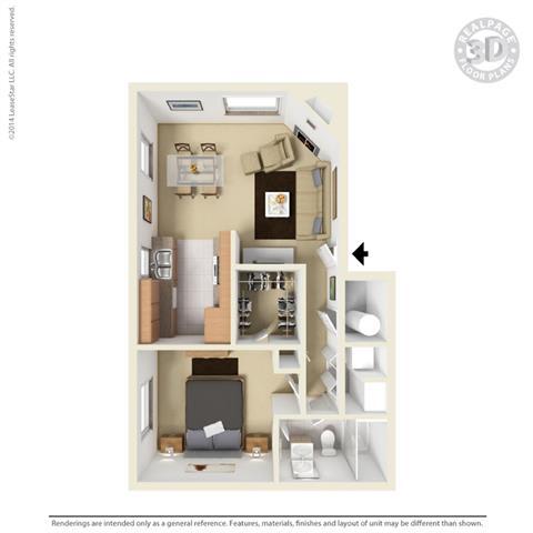 1 Bedroom 1 Bathroom Floor Plan at Cypress Landing, California, 93907
