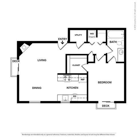 1 Bedroom 1 Bath Floor Plan at Cypress Landing, California