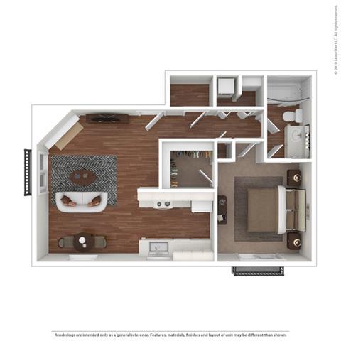 One Bedroom One Bath Floor Plan at Cypress Landing, Salinas
