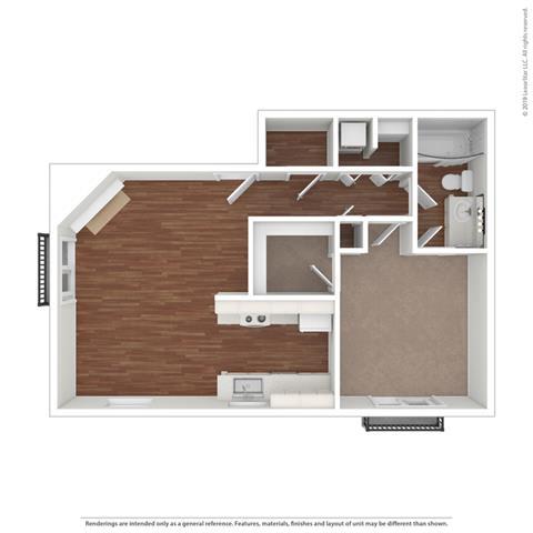 One Bed One Bath Floor Plan at Cypress Landing, Salinas, California