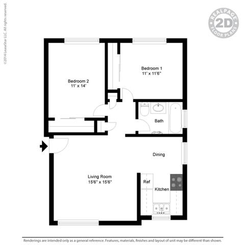 2d 2 bedroom floor plan at Colonial Garden Apartments, San Mateo, CA