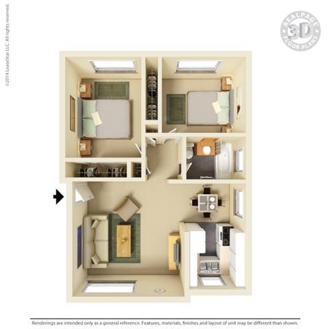 3d 2 bedroom layout at Colonial Garden Apartments, San Mateo, CA, 94401