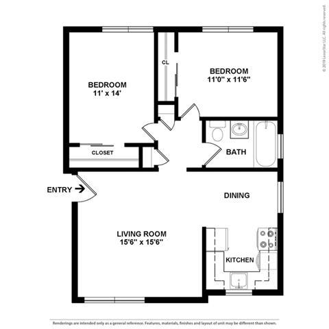 Floor Plan  2 bedroom layout at Colonial Garden Apartments, California, 94401