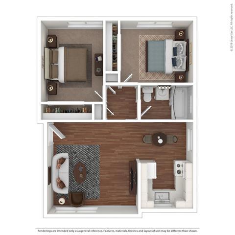 2 Bedroom 1 Bathroom Floor Plan at Colonial Garden Apartments, San Mateo, California