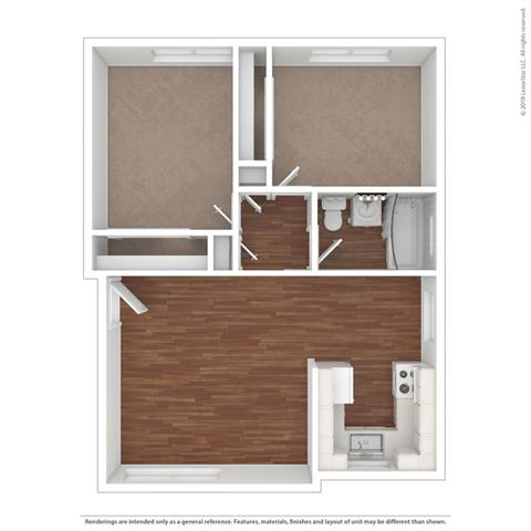 3d 2 bedroom layout at Colonial Garden Apartments, San Mateo, 94401