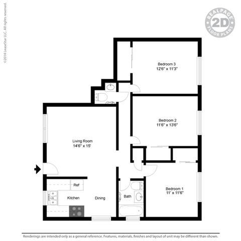 Floor Plan  3 Bed 2 Bath Floor Plan at Colonial Garden Apartments, San Mateo, CA