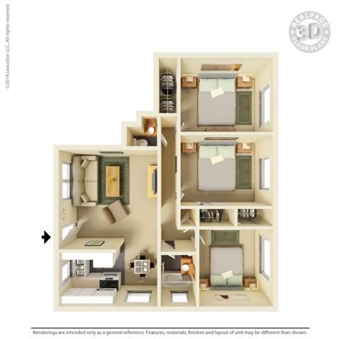 3d vertical layout at Colonial Garden Apartments, San Mateo, CA, 94401