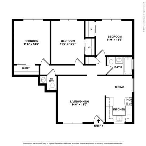2d 3 bedroom layout at Colonial Garden Apartments, California, 94401