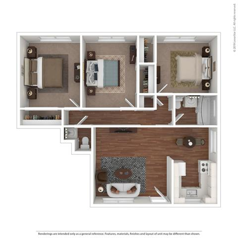 3 bedroom layout at Colonial Garden Apartments, California
