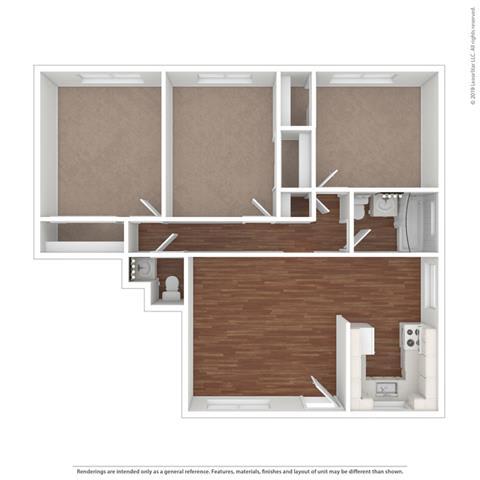 3d 3 bedroom floor plan at Colonial Garden Apartments, San Mateo