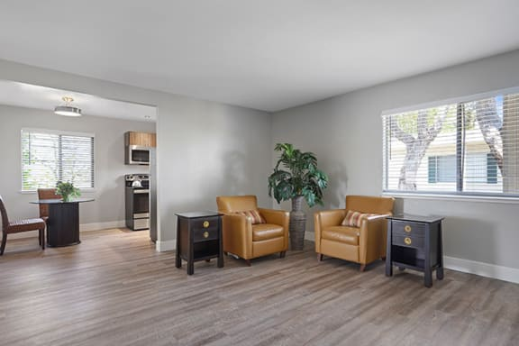 Living Room With Expansive Window at Colonial Garden Apartments, San Mateo, California