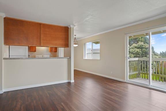 Wood Floor Living Room at Fairmont Apartments, California, 94044