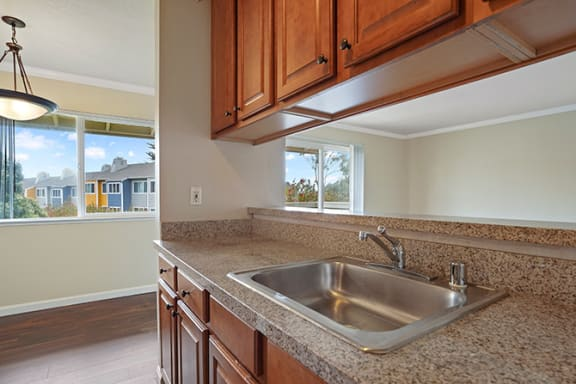 Double Sink With Integrated Sprayer at Fairmont Apartments, Pacifica, CA, 94044