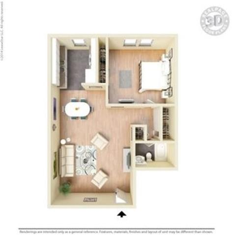 tan 1 bed layout Floor Plan at Peninsula Pines Apartments, South San Francisco, CA, 94080