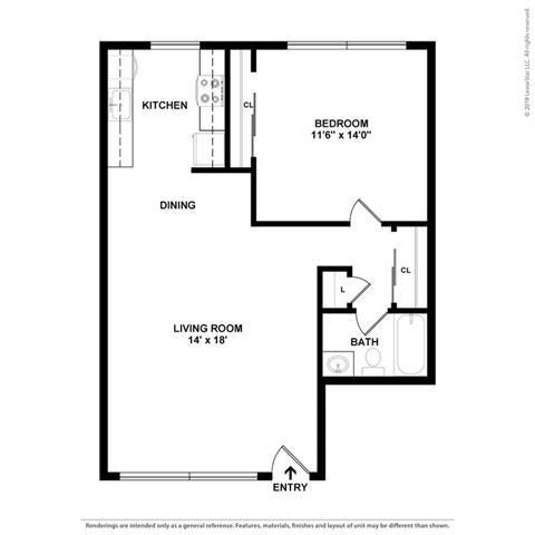 2d 1 bed Floor Plan at Peninsula Pines Apartments, California, 94080