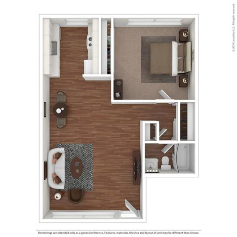 Filled out 1 bedroom Floor Plan at Peninsula Pines Apartments, California