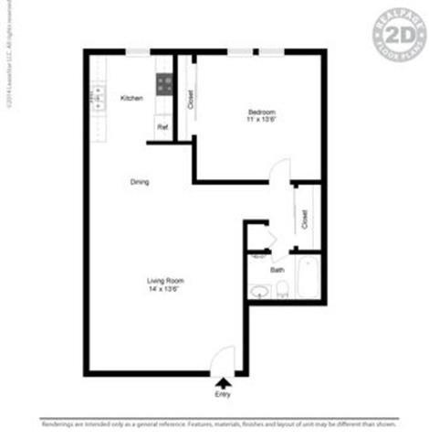 1 bed Floor Plan at Peninsula Pines Apartments, South San Francisco, CA