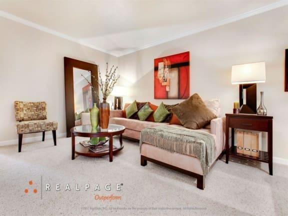 Modern style living room at Peninsula Pines Apartments, South San Francisco, CA