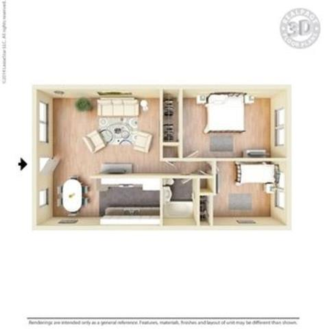 Monterey Pine Floor Plan at Peninsula Pines Apartments, South San Francisco, California
