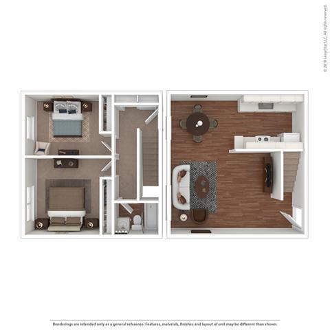 Appliances 2 bed Floor Plan at Peninsula Pines Apartments, South San Francisco, CA