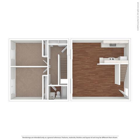 Floor Plan  the Torrey Pine Floor Plan at Peninsula Pines Apartments, South San Francisco, CA, 94080