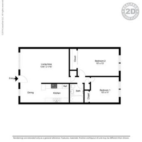 2d Monterey Pine Floor Plan at Peninsula Pines Apartments, South San Francisco