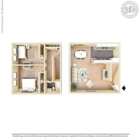 2 Bed 2 Bath Floor Plan at Peninsula Pines Apartments, California, 94080