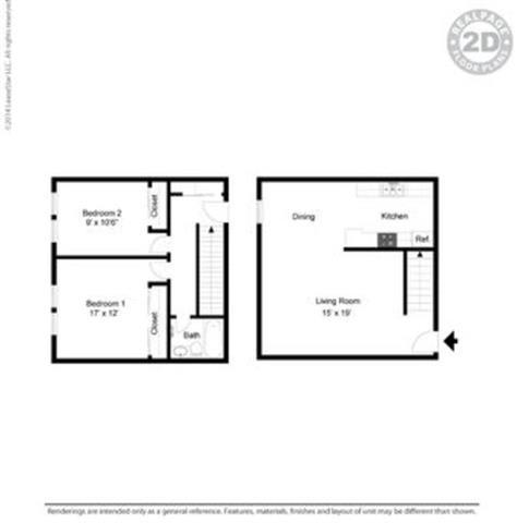 2 bed layout Floor Plan at Peninsula Pines Apartments, California