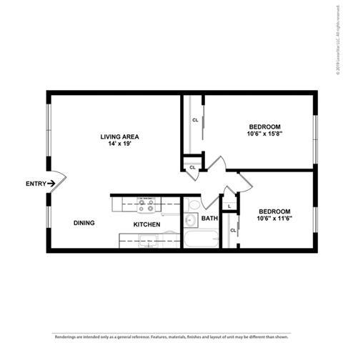 Floor Plan  2 bedroom Floor Plan at Peninsula Pines Apartments, South San Francisco