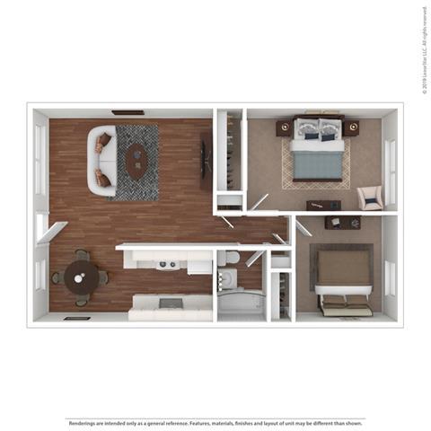 3d 2 bedroom Floor Plan at Peninsula Pines Apartments, South San Francisco, California